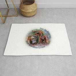 Save the Orangutans Watercolor Illustration Rug