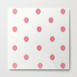 Kawaii Cute Strawberry Print Metal Print