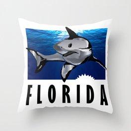 Florida Shark in Deep Blue Throw Pillow