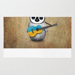 Baby Penguin Playing Ukrainian Flag Guitar Rug