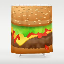 Close Encounter of the Cheeseburger Shower Curtain