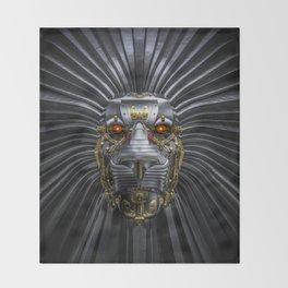 Hear Me Roar / 3D render of serious metallic robot lion Throw Blanket