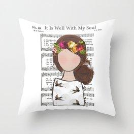 It Is Well - Brunette Side Bun Throw Pillow