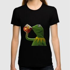 Kermit The Frog LARGE Black Womens Fitted Tee