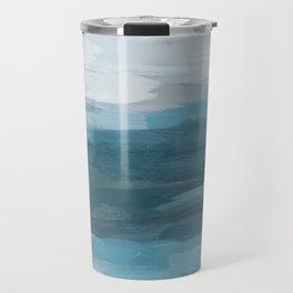 Teal Ocean Blue Gray Abstract Nature Art Painting Travel Mug