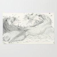 otters Area & Throw Rugs featuring Playful Otters  by Jennifer Golla Art