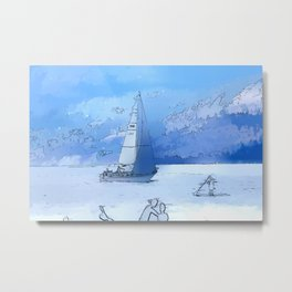 Sailing the Calm Blue Waters  - Sailboating Metal Print