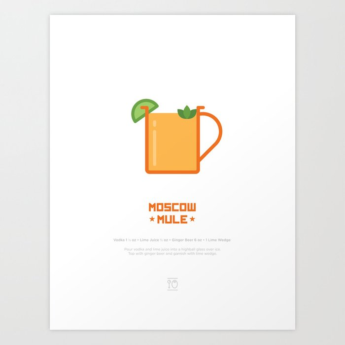image regarding Moscow Mule Recipe Printable known as Moscow Mule Cocktail Recipe Artwork Print (White) Artwork Print by way of typeandtails
