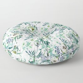 Country white green rustic watercolor floral Floor Pillow