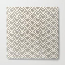 Gray Grey Alabaster Seigaiha Sea Wave Nautical Minimalist Metal Print