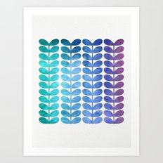 Colorful Leaves from Turquoise to Levender Art Print