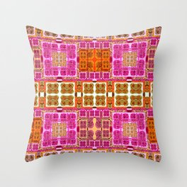 Vintage Geometric Abstract Quilt Pink and Mustard Throw Pillow