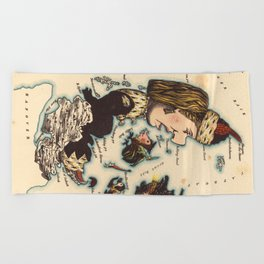 Vintage Map of Denmark with Illustrations (1868) Beach Towel