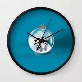 Penquin Chicks: Captured Snowflake Wall Clock