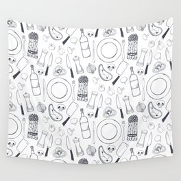 Black hand drawn ratatouille sketched pattern Wall Tapestry
