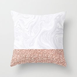 White Marble Dipped in Rose Gold Glitter Throw Pillow