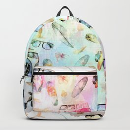 Beach time- Tropical summer watercolor pattern Backpack
