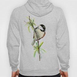 Chickadee on Willow, minimalist bird artwork chickadee painting Hoody