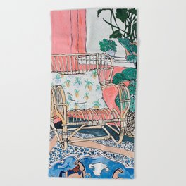 Cane Chair in Pink Interior Beach Towel