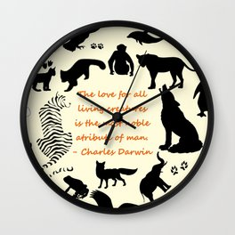 Love of the Animals Typography Wall Clock