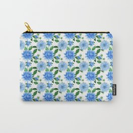 Elegant blush blue green watercolor peonies floral pattern Carry-All Pouch