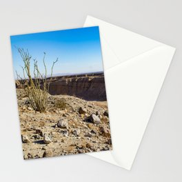 Lone Ocotillo Reaching up to the Blue Sky in front of a Gorge in the Anza Borrego Desert State Park Stationery Cards