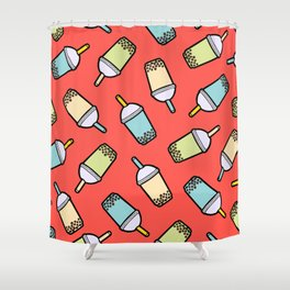 Bubble Tea Pattern in Red Shower Curtain