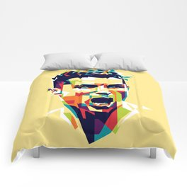colorful illustration of ronaldo Comforters