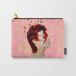 Bowie - Geometric, Mixed Media Portrait - Peach Background Carry-All Pouch