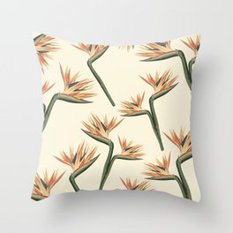 Birds of Paradise Flowers Throw Pillow