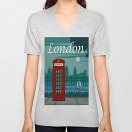 Commercial Travel Poster Colorful Vintage Art London Unisex V-Neck