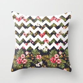 Floral Chevron Throw Pillow