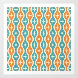 Mid century Modern Bulbous Star Pattern Orange and Turquoise Art Print