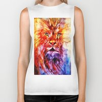 lions Biker Tanks featuring Lions Wisdom by Richard Harper