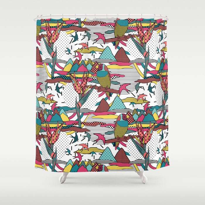 Pop Art Memphis 80s Bird Print Shower Curtain By Gaynorcarradice