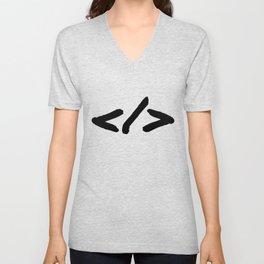 HTML Tag Programmer Symbol for Code Developers Unisex V-Neck