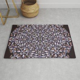 Dark Plum Symmetrical Mandala - Abstract Geometric Flower - Growing Rosetta Floral Dark Art Rug