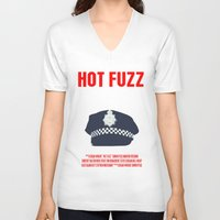 movie poster V-neck T-shirts featuring Hot Fuzz Movie Poster by FunnyFaceArt