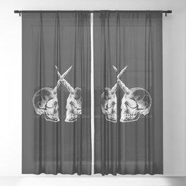 Unicorn Skulls 2 Sheer Curtain