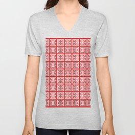 Red Greek Key Pattern Unisex V-Neck