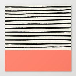 Coral x Stripes Canvas Print