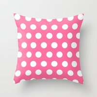 minnie mouse Throw Pillows featuring Minnie Mouse Dots | Pink by DisPrints
