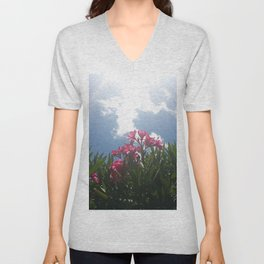 Pink Flowers And Sky Unisex V-Neck