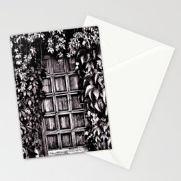Black White Old Door Stationery Cards