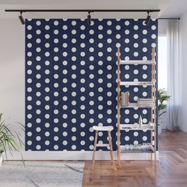 Navy Blue Polka Dot Wall Mural