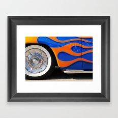 Chrome hubcaps, orange flames Framed Art Print