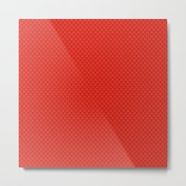 Scarlet Red Scales Pattern Metal Print