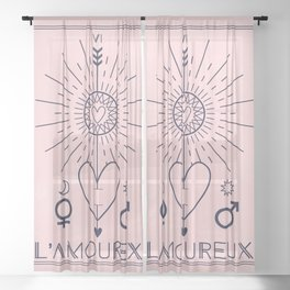L'Amoureux or The Lover Tarot Sheer Curtain