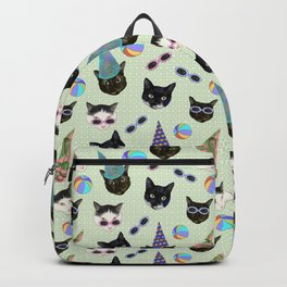 Festive Birthday Cute Cats Party - Green Theme Backpack