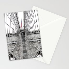 The Brooklyn Bridge and American Flag Stationery Cards